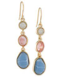 Carolee | Multicolor Gold-tone Triple Stone Linear Earrings | Lyst