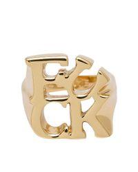 CC SKYE - Metallic F-u Cubist Ring - Lyst
