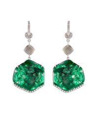 NSR Nina Runsdorf | Green Diamond, Emerald & White-Gold Earrings | Lyst