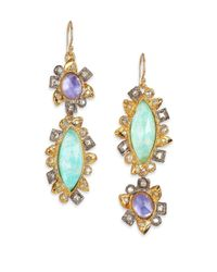 Alexis Bittar | Green Elements Moonlight Amazonite, Mother-Of-Pearl & Crystal Doublet Reversed Drop Earrings | Lyst