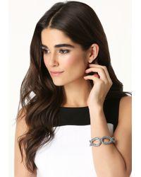 Bebe | Metallic Crystal Oval Hinge Bracelet | Lyst