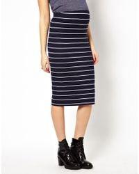 ASOS | Blue Pencil Skirt in Stripe | Lyst