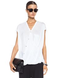Helmut Lang - White Draped Angled Viscose Top - Lyst