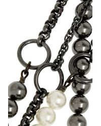Vickisarge | Black Chain Reaction Gunmetal-Plated, Swarovski Pearl And Leather Necklace | Lyst