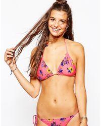 MINKPINK - Pink By The Sea Reversible Triangle Bikini Top - Lyst