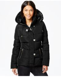Calvin Klein | Black Faux-fur-trim Down Puffer Coat | Lyst
