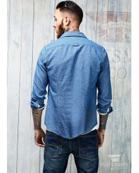 Mango | Blue Dotpatterned Chambray Shirt for Men | Lyst