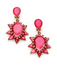 Oscar de la Renta - Pink Swarovski Crystal Starburst Clip-On Earrings - Lyst