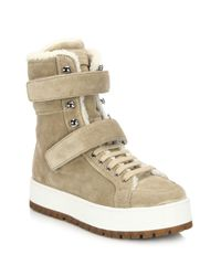 Prada | Brown Suede & Sheepskin Fur Lace-up Boots | Lyst