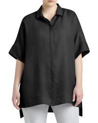Lafayette 148 New York - Black Andra Short-sleeve Blouse - Lyst