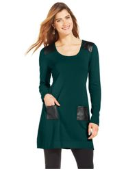Style & Co. - Green Cowl-neck Faux-leather Sweater Tunic - Lyst