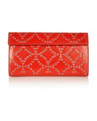 Alaïa - Red Eyelet-Embellished Leather Clutch - Lyst