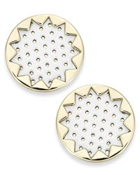 House of Harlow 1960 | White Gold-tone Patent Leather Sunburst Button Earrings | Lyst