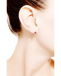 Janis Savitt | Metallic Chain Hoop Ruby Earrings | Lyst