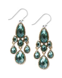 Lucky Brand - Green Goldtone Jewel Teardrop Chandelier Earrings - Lyst