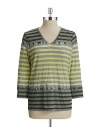 Two By Vince Camuto | Green Striped V-neck Top | Lyst