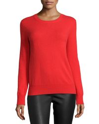 Neiman Marcus - Gray Long-sleeve Crewneck Cashmere Sweater - Lyst