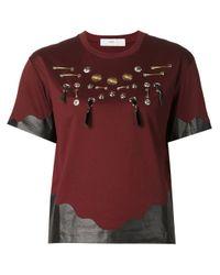 Toga | Black Leather Trimmed Embellished T-shirt | Lyst