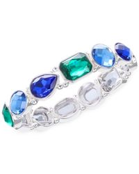 Nine West | Silver-tone Blue And Green Stone Stretch Bracelet | Lyst