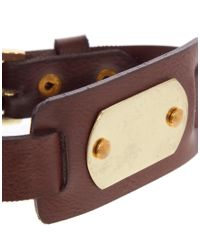 ASOS - Brown Leather Bracelet with Id Tag for Men - Lyst