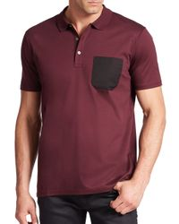 Saks Fifth Avenue | Purple Dyron Pocket Polo for Men | Lyst