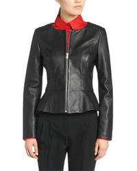 HUGO | Black Leather Jacket: 'lorine' | Lyst