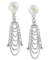 Macy's - Metallic Sterling Silver Earrings, Cultured Freshwater Pearl Lace Drop Earrings - Lyst
