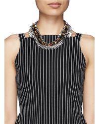 Venna - Metallic Crystal Chain Spike Necklace - Lyst