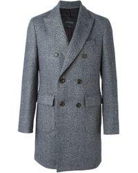 Dell'Oglio - Blue Double Breasted Midi Coat for Men - Lyst