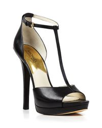 MICHAEL Michael Kors | Black Open Toe T Strap Platform Sandals - Bloomingdale'S Exclusive Brenna High Heel | Lyst