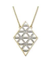 Juicy Couture - Metallic Goldtone Cutout Pave Crystal Diamondshaped Pendant Necklace - Lyst