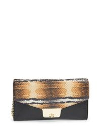 MILLY - Black Snake Embossed Leather Clutch - Lyst