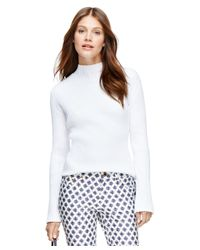 Brooks Brothers | White Supima® Cotton Mockneck Sweater | Lyst