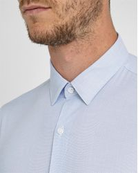 M.studio | Blue Chemise Gus Faux Uni Ciel Slim Col Français for Men | Lyst