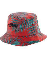 Stussy - Red Palm Bucket Hat - For Men for Men - Lyst