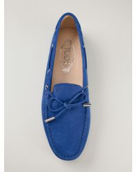 Tod's - Blue 'gommini' Tie Front Driving Moccasin - Lyst