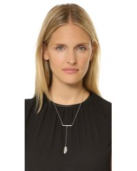 Rebecca Minkoff - Metallic Bar Feather Drop Necklace - Lyst