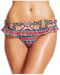 Jessica Simpson | Multicolor Mixed-print Ruffle Bikini Hipster Bottom | Lyst