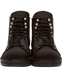 Yohji Yamamoto - Black Canvas & Leather Combat Boots for Men - Lyst