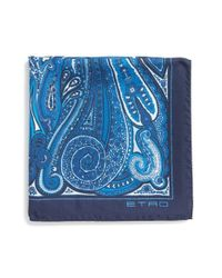 Etro | Blue Paisley Print Silk Pocket Square for Men | Lyst
