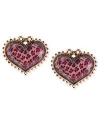 Betsey Johnson | Antique Gold-Tone Pink Leopard Heart Stud Earrings | Lyst