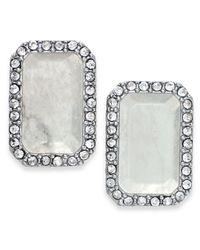 Kate Spade | Metallic Silver-tone Stone And Pavé Crystal Stud Earrings | Lyst