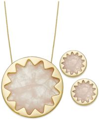 House of Harlow 1960 | Gold-tone Pink Starburst Pendant Necklace And Stud Earring Set | Lyst