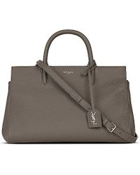 Saint Laurent - Gray Cabas Rive Gauche Grained Leather Tote - For Women - Lyst