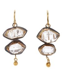 Judy Geib | Metallic Herkimer Diamond, Gold & Sterling Silver Double-Drop Earrings | Lyst