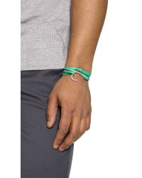 Miansai | Green Silver Anchor Leather Wrap Bracelet for Men | Lyst