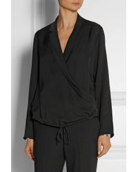 Theory | Black Ilori Silk Crepe De Chine Blouse | Lyst