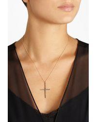 Ileana Makri - Metallic Classic Cross 18karat Rose Gold Diamond Necklace - Lyst