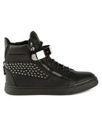 Giuseppe Zanotti - Black Studded High-Top Sneakers for Men - Lyst