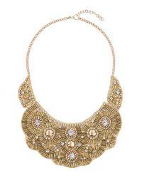 TOPSHOP - Metallic Beaded Bib Necklace - Lyst